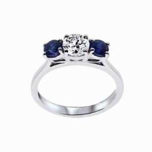 Inverse Sapphire And Round Brilliant Cut Diamond Three Stone Ring - 0.50ct